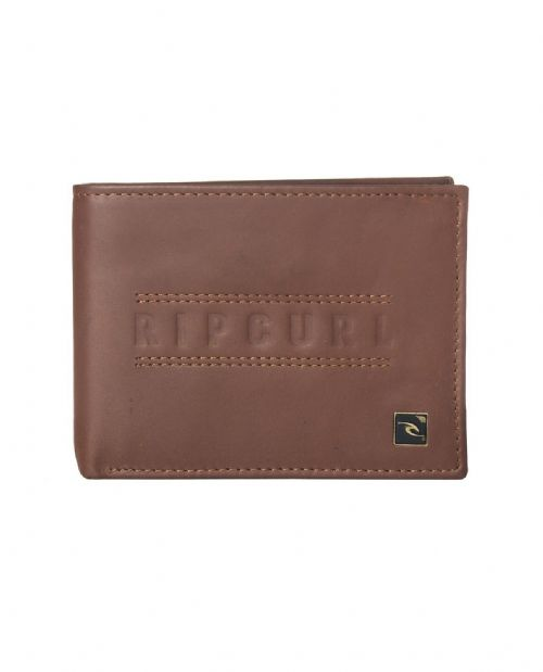 RIP CURL MENS WALLET.RFID PROTECH CLASSIC REAL LEATHER BROWN MONEY PURSE 8W H1 9